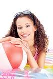 Vrouw op luchtmatras Royalty-vrije Stock Afbeelding
