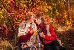 Vrouw op middelbare leeftijd en haar dochter die thee in het bos hebben Royalty-vrije Stock Foto's