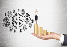 Vrouw op muntstukken en dollartekens Royalty-vrije Stock Foto