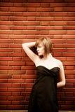 Vrouw op muur Stock Fotografie