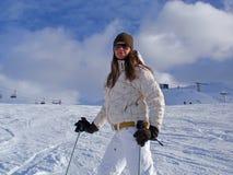 Vrouw op Ski Stock Afbeelding