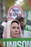 Vrouw op staking over openbare sectorpensioenen bij N30 Stock Foto