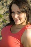Vrouw op strand Stock Fotografie