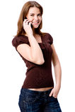 Vrouw op Telefoon Stock Fotografie