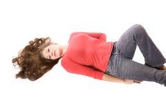 Vrouw op terug met uit gewaaid haar Stock Foto