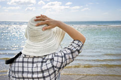 Vrouw op vakantie Stock Foto's
