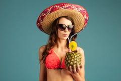 Vrouw op Vakantie Stock Foto
