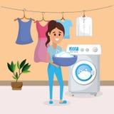Vrouw op wasserij stock illustratie