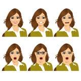 Vrouw op zes verschillende geplaatste gezichtsuitdrukkingen Royalty-vrije Stock Afbeelding