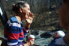 Vrouw in open venster royalty-vrije stock afbeelding