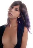 Vrouw in Open Vest Royalty-vrije Stock Afbeelding