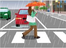 Vrouw over de Straat in de Regenachtige Dag Vectorillustratie Stock Foto's
