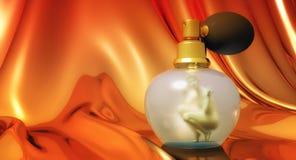 Vrouw in parfumfles stock illustratie