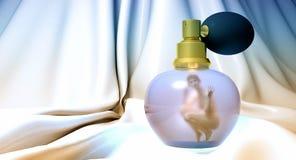 Vrouw in parfumfles royalty-vrije illustratie