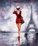 Vrouw in Parijs vector illustratie