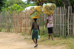 Vrouw-plaatselijke bewoners in Madagascar, Stock Foto