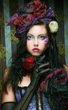 Vrouw in poppenstijl. Creatieve samenstelling. royalty-vrije stock foto's