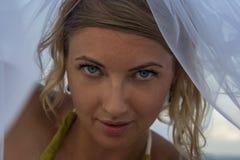 Vrouw portreit in bruidssluier stock foto's