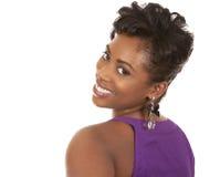 Vrouw in purple stock afbeeldingen
