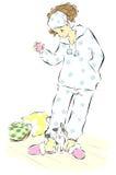 Vrouw in pyjama's stock illustratie