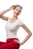 Vrouw in retro stijl Stock Foto's