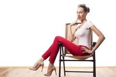 Vrouw in retro stijl Stock Fotografie