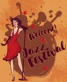 Vrouw in retro stijl het zingen jazzmuziek Stock Foto's