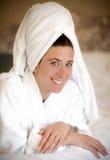 Vrouw in Robe Royalty-vrije Stock Foto's