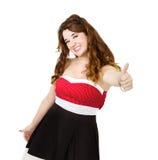 Vrouw in rode duimen omhoog stock foto