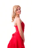 Vrouw in rode kleding royalty-vrije stock fotografie