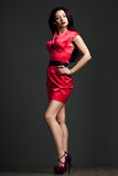 Vrouw in rode kleding Stock Fotografie