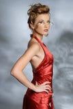 Vrouw in rode kleding Royalty-vrije Stock Foto