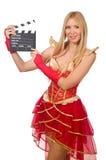 Vrouw in rode kleding Royalty-vrije Stock Afbeeldingen