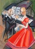 Vrouw in rode kleding en pianist Royalty-vrije Stock Afbeeldingen
