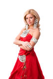 Vrouw in rode kleding met dollars. royalty-vrije stock afbeelding