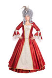Vrouw in rode koninginkleding Royalty-vrije Stock Fotografie