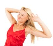 Vrouw in rode pyjama's Royalty-vrije Stock Afbeelding