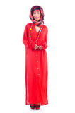 Vrouw in rode scaf Royalty-vrije Stock Foto