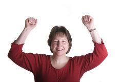 Vrouw in Rode Vuisten in de Lucht Stock Foto's