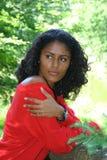 Vrouw in rood Stock Afbeelding