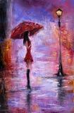 Vrouw in rood Stock Afbeeldingen