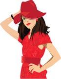 Vrouw in rood royalty-vrije illustratie