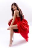 Vrouw in rood Royalty-vrije Stock Foto
