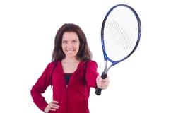 Vrouw in rood kostuum Royalty-vrije Stock Afbeeldingen