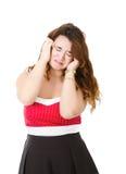 Vrouw in rood slecht nieuws royalty-vrije stock afbeelding