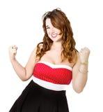 Vrouw in rood succes stock afbeelding