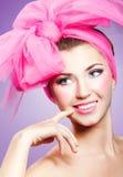Vrouw in roze Stock Foto