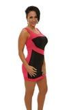Vrouw in roze en zwarte kleding Royalty-vrije Stock Foto