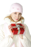Vrouw in roze GLB Royalty-vrije Stock Afbeelding