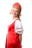 Vrouw in Russisch traditioneel kostuum royalty-vrije stock fotografie